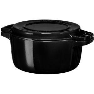 Кастрюля чугунная KitchenAid, 3.77л, с крышкой, черная