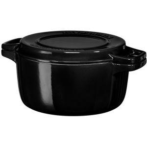 Кастрюля чугунная KitchenAid, 5.65л, с крышкой, черная