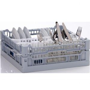 Корзина посудомоечная комбинированная для тарелок, ст.приборов, бокалов для машин посудомоечных UC-S, 400х400мм (размер S), 3 ряда, пластик