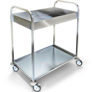 Тележка сервировочная и сбора посуды,  800х500х965мм, 2 полки нерж.сталь 304, каркас нерж.сталь 304 труба квадратная, 2 ручки
