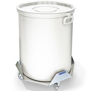 Бак для пищевых отходов,  50л, пластик белый, ручки, тележка нерж.сталь 430