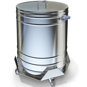 Бак для пищевых отходов,  50л, нерж.сталь 304, ручки, тележка нерж.сталь 430