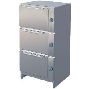 Шкаф электрический жарочный, 3 камеры, 3х4GN2/1, электромех.управление, корпус нерж.сталь, 380V, ножки