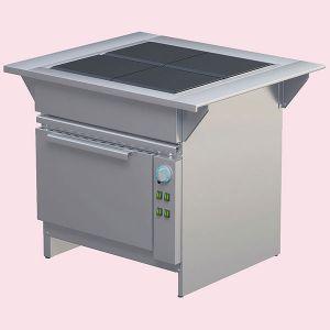 Плита электрическая, 4 конфорки 4х3.0кВт, поверхность сплошная стальная, шкаф духовой электрический 4GN2/1, столики боковые