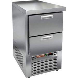 Стол морозильный, GN1/1, L0.57м, без борта, 2 ящика, ножки, -10/-18С, нерж.сталь, дин.охл., агрегат нижний