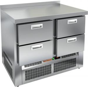 Стол морозильный, GN1/1, L1.00м, борт H50мм, 4 ящика, ножки, -10/-18С, нерж.сталь, дин.охл., агрегат нижний