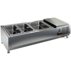 Витрина холодильная настольная, горизонтальная, для топпингов, L1.00м, 2GN1/3+1GN1/2, +2/+7С, стат.охл., открытая, ножки