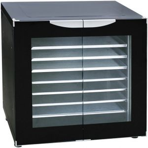 Шкаф расстоечный,  8GN1/2, 2 двери распашные стекло, +30/+85С, эмалир., 220V, ножки, электромех.упр., увлажнение