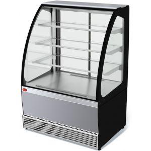 Витрина холодильная напольная, горизонтальная, кондитерская, L0.95м, 3 полки, 0/+7С, дин.охл., нерж.сталь, стекло фронтальное гнутое