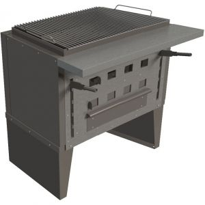 Гриль на углях, 1 решетка 660х520мм, подставка закрытая, сталь, рычаги