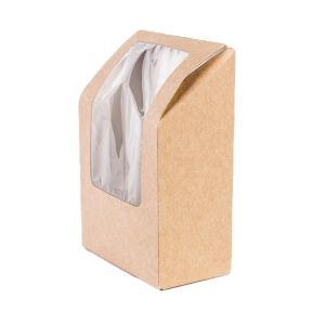Коробка для ролла с окошком 90x50x130мм картон крафт, 500 шт