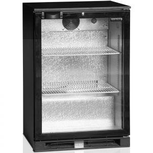Стол холодильный для напитков, 122л, 1 дверь стекло распашная, 2 полки 498х335мм, ножки, +2/+10С, чёрный, дин.охл., R600a, подсветка
