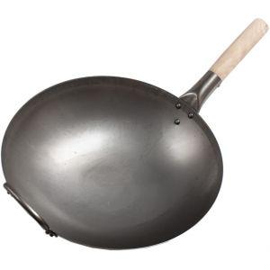 Сковорода WOK, D350мм, углер.сталь, ручка деревянная, без крышки