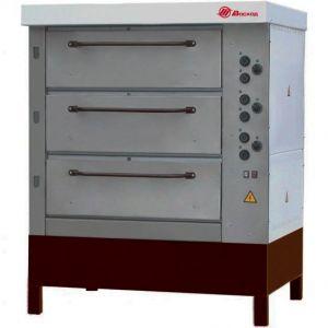 Печь для хлеба электрическая подовая, 3 камеры  965х760х250мм, электромех.упр., паровулажнение, нерж.сталь, стенд открытый, деревянная обрешётка