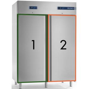 Шкаф комбинированный, GN2/1, 1400л, 2 двери глухие, 6 полок, ножки, -2/+8С и -18/-20С, дин.охл., нерж.сталь, замок