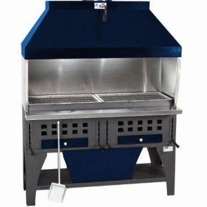 Гриль на углях, 2 решетки 560х420мм, подставка открытая, отделка синяя, зольник, зонт вытяжной