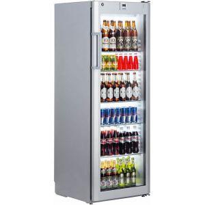 Шкаф холодильный,  388л, 1 дверь стекло, 6 полок, ножки, +1/+15С, дин.охл., серебристый