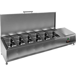 Витрина холодильная настольная, горизонтальная, для топпингов, L1.39м, 6GN1/3, +2/+7С, стат.охл., крышка нерж.сталь, ножки