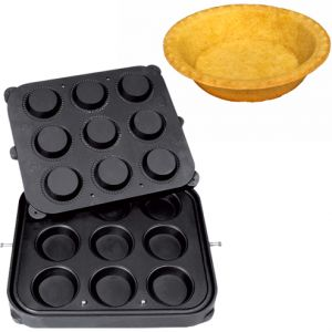 Форма для аппарата для тарталеток и вафель CookMatic,  9 ячеек круг D90х21мм, с фест.краем