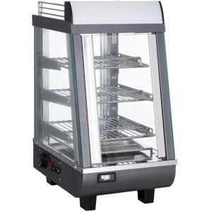 Витрина тепловая настольная, вертикальная, L0.35м, 3 полки, +30/+90С, черная, стекло фронтальное прямое, подсветка, канапе