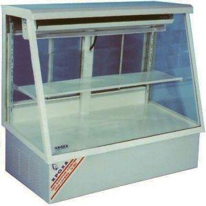 Витрина холодильная настольная, горизонтальная, кондитерская, L1.27м, 1 полка, 0/+8С, стат.охл., серая шагрень, стекло фронтальное прямое