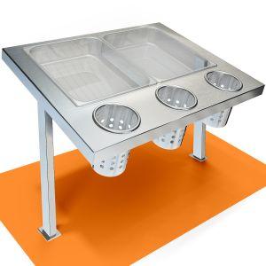 Диспенсер для столовых приборов, L0.63м, нерж.сталь, для установки на столешницу