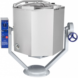 Котел пищеварочный электрический, опрокидывание ручное, 160л, нагрев косвенный, корпус нерж.сталь, миксер