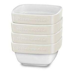 Рамекины, набор керамических чаш д/запекания (4шт.), 10х10см, 4х0.22л, отделка кремовая
