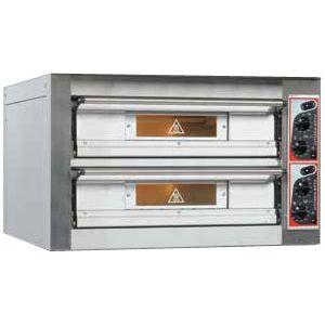 Печь для пиццы электрическая, подовая, 2 камеры  700х700х120мм, 8 пицц D330мм, электромех.управление, двери стекло, под камень