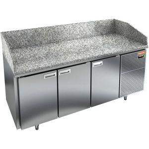 Стол холодильный для пиццы, GN1/1, L1.84м, 3 двери глухие, ножки, +2/+10С, нерж.сталь, дин.охл., агрегат справа, гранит.пов.