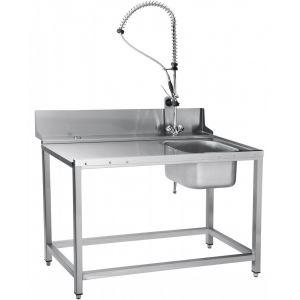 Стол входной для машин посудомоечных МПТ, L1.30м, 1 борт, обвязка с 4-х сторон, 4 ножки, мойка 400х400х250мм, универсальный, душ-стойка