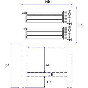 Подставка для печи для пиццы подовой PODM24, 1020х860х900мм, открытая, 1 полка сплошная, нерж.сталь
