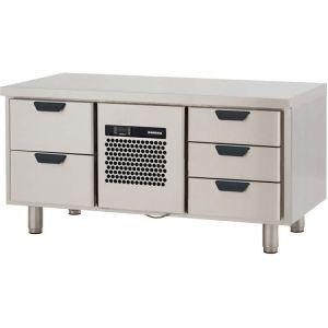 Стол холодильный низкий, GN1/1, L1.26м, без борта, 5 выд.секц., ножки, +2/+15С, нерж.сталь, дин.охл., агрегат центр.