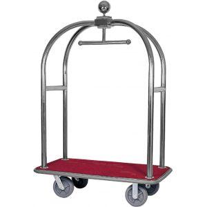 Тележка для багажа «птичья клетка», каркас нерж.сталь, платформа дерево «красный мебельный плюш»