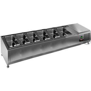 Витрина холодильная настольная, горизонтальная, для топпингов, L1.39м, 6GN1/3, +2/+7С, стат.охл., открытая, ножки