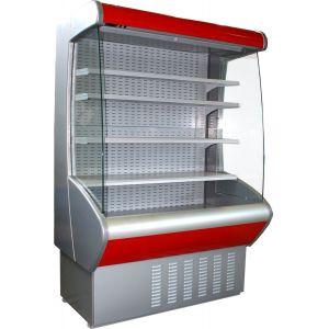 Стеллаж холодильный, пристенный, L1.96м, 4 полки, 0/+7С, дин.охл., серый+красный, фронт открытый, боковины стекло, ночная шторка, подсветка