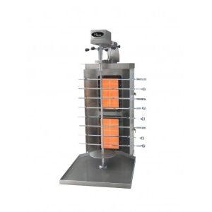 Гриль для шаурмы газовый, загрузка 40кг, 1 вертикальный и 8 горизонтальных шампуров, 2 горелки, мотор, нержавеющая сталь, магистральный газ