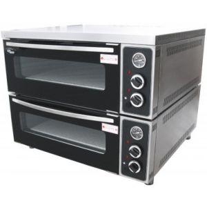 Печь для пиццы электрическая, подовая, 2 камеры  660х750х140мм, 8 пицц D310мм, электромех.управление, двери стекло, под камень