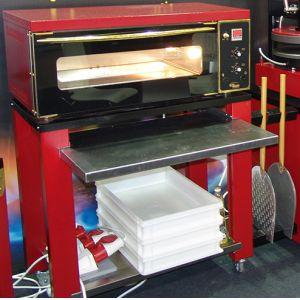 Подставка для печи для пиццы подовой ППЭ, 1190х500х900мм, открытая, 1 полка сплошная, порош.покрытие, передвижная, выдвижная полка, крепёж для лопат