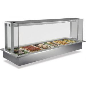 Ванна холодильная встраиваемая, L1.14м, 3GN1/1, +2/+7С, стат.охл., нерж.сталь, агрегат, витрина Doge Servito