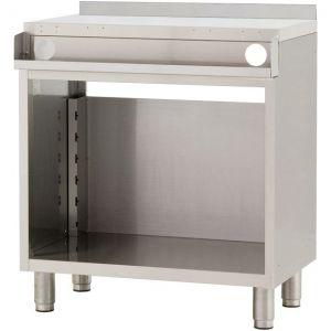 Модуль барный нейтральный для пивных кранов,  800х550х900мм, борт H40мм, полузакрытый без двери, ножки, нерж.сталь