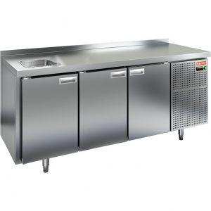Модуль барный холодильный, 1835х700х850мм, борт, 3 двери глухие, ножки, -2/+10С, нерж.сталь, дин.охл., агрегат справа, нейтр.секция с мойкой GN1/2