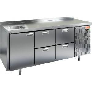 Модуль барный холодильный, 1835х700х850мм, борт, 1 дверь глухая+4 ящика, мойка GN1/2, ножки, -2/+10С, нерж.сталь, дин.охл., агрегат справа