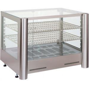 Витрина тепловая настольная, горизонтальная, L0.61м, 2 полки, +30/+90С, нерж.сталь, стекло фронтальное прямое, увлажнение, подсветка