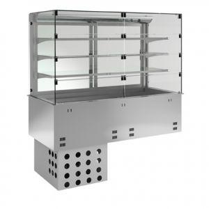 Витрина холодильная встраиваемая, вертикальная, L1.13м, 3 полки-решетки, -1/+5С, нерж.сталь, дин.охл., ванна охл. 3GN1/1, 8 дверок со стороны покуп.