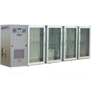 Модуль барный холодильный, 2740х540х850мм, без борта, 4 двери стекло, ножки, +2/+8С, нерж.сталь, дин.охл., агрегат слева, R134a, RGB