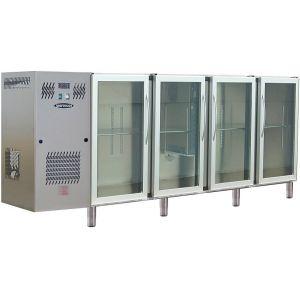 Модуль барный холодильный, 2740х540х930мм, без борта, 4 двери стекло, ножки, +2/+8С, нерж.сталь, дин.охл., агрегат слева, R134a, 4 цвета