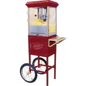 Попкорн аппарат, 08oz, тележка, напольный, верх и тележка красные