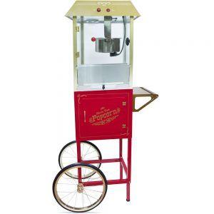 Попкорн аппарат, 10oz, тележка, напольный, верх золотистый, тележка красная