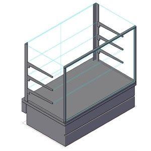 Витрина нейтральная напольная, горизонтальная, кондитерская, L1.00м, 3 полки, серебристый металлик, стекло фронтальное прямое